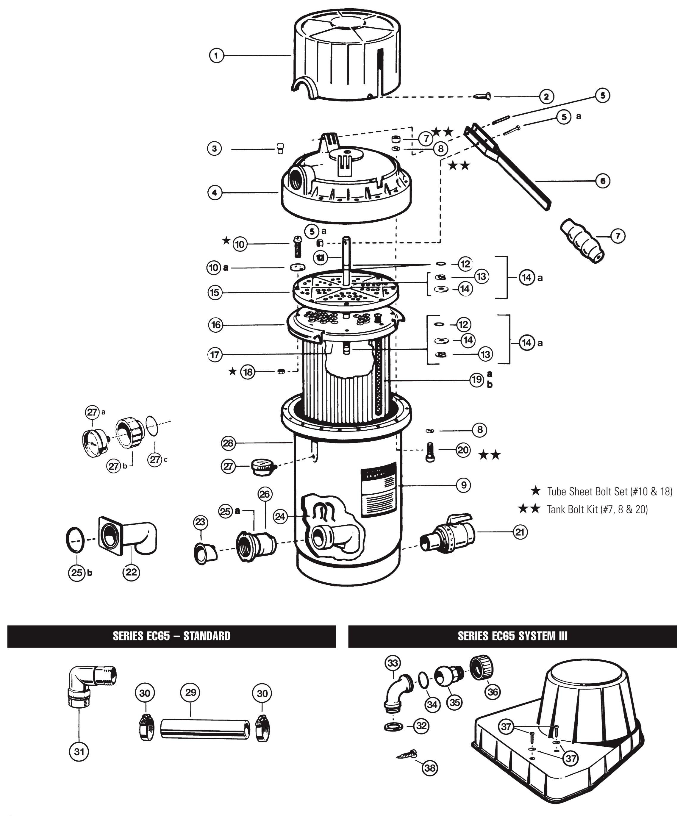 Flanged w//Check Valve Hayward Perflex EC65//75 Elbow Assembly
